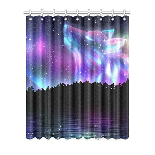 Window Spirit (InterestPrint Blackout Window Curtains Howling Wolf Spirit and Aurora Borealis Room Bedroom Kitchen Home Living Solid Grommet Window Drapes Curtains 52x63 inch)