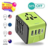 Agedate USB Universal Travel Adapter, International Travel Adapter, High Speed 3.4A Type-C, 4 USB Wall Charger, European Travel Adapter Wall Charger for US, EU, UK, AU Covers 220+Countries-Green