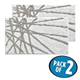 mDesign Soft Microfiber Polyester Non-Slip Rectangular Spa Mat Rugs, Plush Water Absorbent, Abstract Design - for Bathroom Vanity, Bathtub/Shower, Machine Washable - 34'' x 21'' - Pack of 2, Stone/White