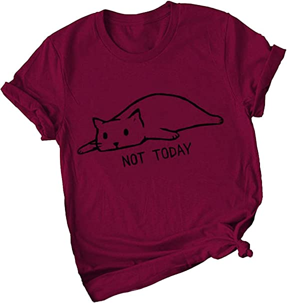 Not Today Womens Crew Neck T-Shirt Short Sleeve Lazy Cat Tee S XL Blouse Tops