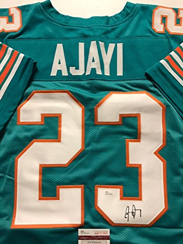 Autographed/Signed Jay Ajayi Miami Dolphins Teal Football Jersey JSA COA