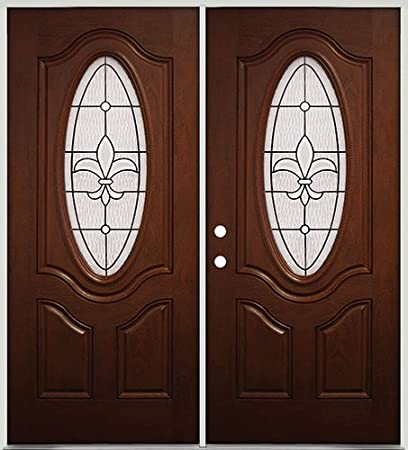 Amazon 34 Oval Mahogany Fiberglass Entry Double Door 44 Fleur