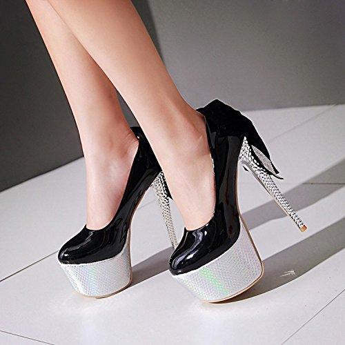 scarpa a degli superiore festa del del spessa alti dei parte pompa del Scarpe cuoio da Scarpe del impermeabile parte pattino di da YWNC della dei talloni pattini Rhinestones talloni b Stiletto Bowknot IT7nSzq