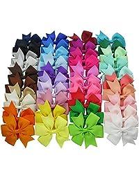 XLKJ Girl Boutique Alligator Clip, Pinwheel Hair Bows for Kids Grosgrain Ribbon Headband for Children 40 Peice