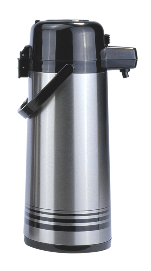 Update International (NPD-25-BK/SF) 2.5 L Stainless Steel Button-Top Air Pot Coffee Server Glass Lined, Case of 6