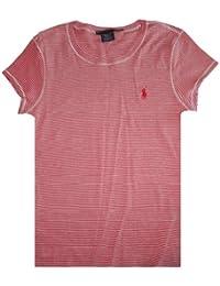 Ralph Lauren Sport Women's Short Sleeve Shirt Red with White Stripes