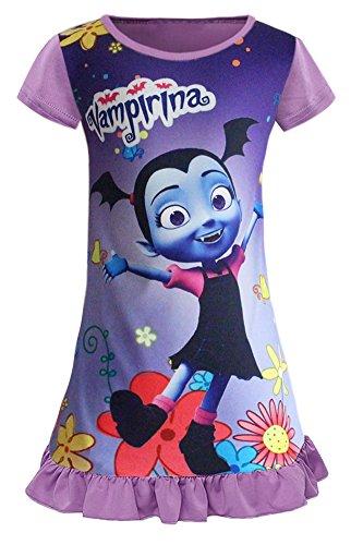 WNQY Vampirina Comfy Loose Fit Pajamas Girls Printed Princess Pjs Cartoon Dress (Purple,110/4-5Y)