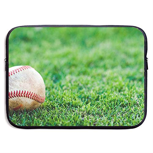 Baseball Briefcase Leather (Fashion Computer Liner Sleeve Case Baseball On Fake Green Grass Portable Laptop Protective Bag Cover Handbag for 15 Inch MacBook Pro/MacBook Air/Asus/Dell)