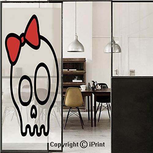 Skull 3D Decorative Film Privacy Window Film No Glue,Frosted Film Decorative,Illustration of Baby Skull Girl with Lace and Halloween Dead Head Teen Emo Art,for Home&Office,17.7x70.8Inch Red White Blac ()