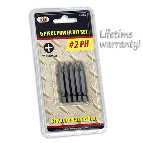 5pc Power Bit Set #2 Phillips Chrome Vanadium Lifetime Warranty (Gun Screw Tip)