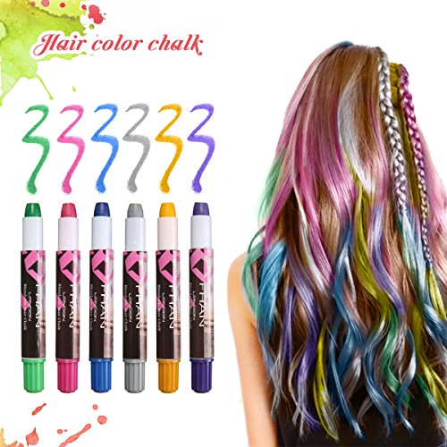 - 6 Colors Temporary Hair Chalk Pens, LuckyFine No Mess Temporary Hair Dye, Hair Chalk Set, Metallic Glitter Temporary Hair Color for Kids, Works on All Hair Colors