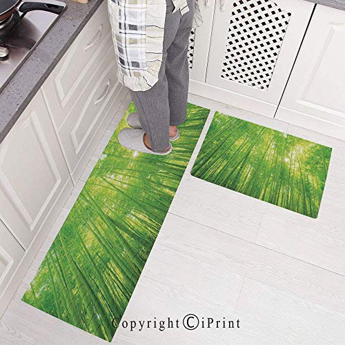 (Kitchen Mats Non Slip Washable Doormat Water Absorbent Anti-Slip Mat,Image of Bamboo Trees with Sunlight in Rainforest Exotic Wildlife Plants Nature Zen Decor Decorative for Kitchen Bedroom Bathroom,)