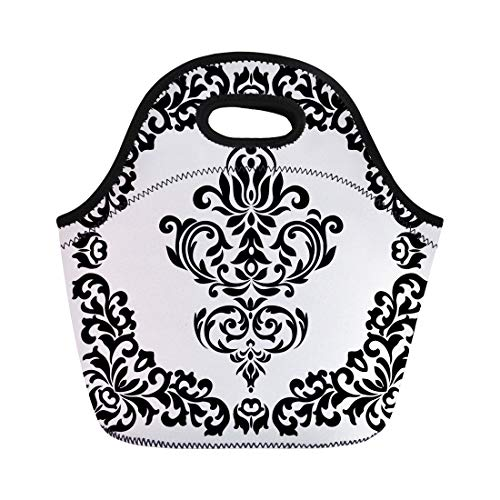 - Semtomn Lunch Tote Bag Abstract Vintage Pattern Acanthus Antique Baroque Border Calligraphic Cartouche Reusable Neoprene Insulated Thermal Outdoor Picnic Lunchbox for Men Women