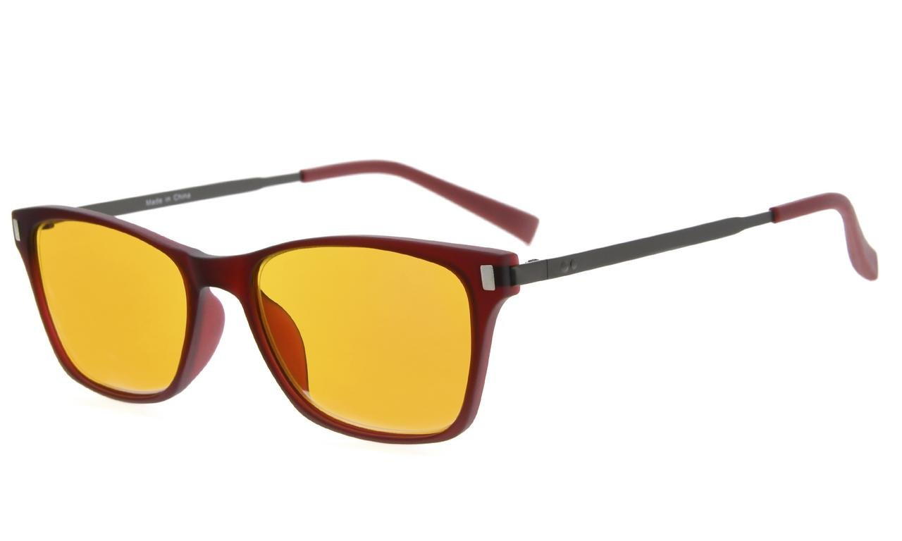 Eyekepper 97% Blue Blocking Reading Glasses for Women,Dark Orange Lens with Anti Reflective Coating Computer Readers (Red, 0.00)