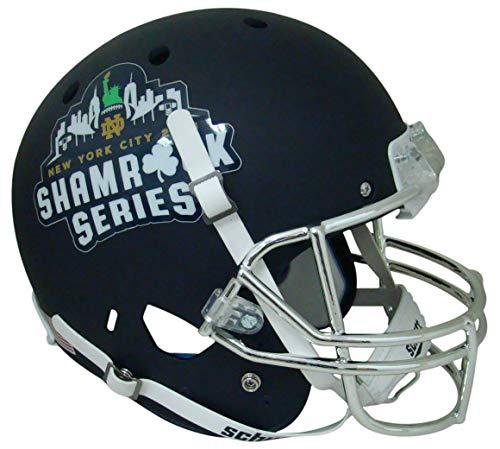 (Notre Dame Fighting Irish Alternate Navy 2018 Shamrock Series Schutt Full Size Replica Football Helmet)