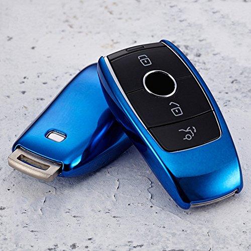 Btopars TPU Soft Blue Smart Remote Key Case Cover Fob For Mercedes Benz 2017 2018 W213 E Class E300 E400 E43