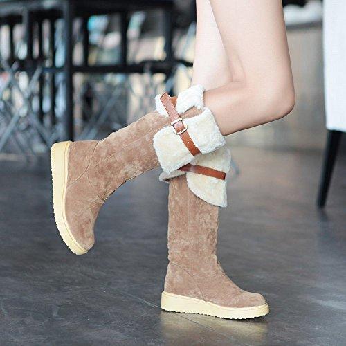 Show Shine Damesmode Gesp Platformlaarzen Lange Laarzen Bruin