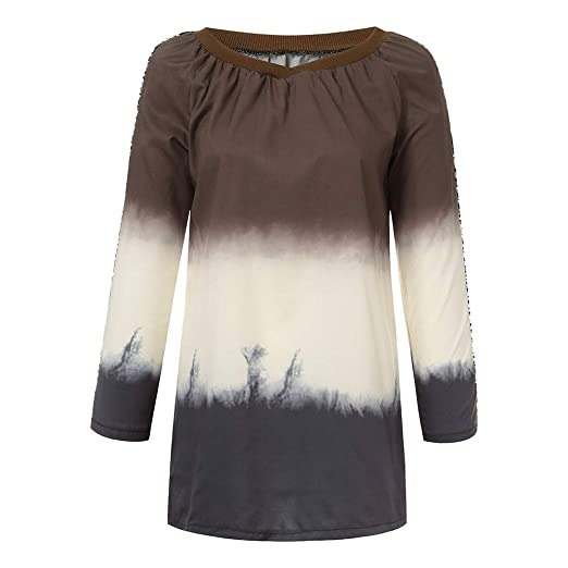 c356db4a4e9 WYTong Newest! Womens Plus Size Long Sleeve Gradient Color T Shirt V-Neck  Sequin
