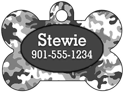 - Camo Dog Tag Pet Id Tag Personalized w/Your Pet's Name & Number (Urban Gray)