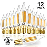 Hizashi LED Candelabra Bulb Flame Tip 40W Equivalent Dimmable E12 Filament Candle Bulbs 4W, 450 Lumens, 2700K Warm White CA10 LED Chandelier Light Bulbs, 90+ CRI, UL Listed - 12 Pack