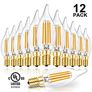 Hizashi 90+ CRI LED Candelabra Bulb Flame Tip 40W Equivalent Dimmable E12 Filament Candle Bulbs 4W, 450 Lumens, 2700K Warm White CA10 LED Chandelier Light Bulbs, UL Listed - 12 Pack