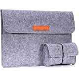 """MoKo 10-11 Inch Tablet Sleeve Bag, Felt Case Cover Compatible with iPad Pro 11"""" 2018, MacBook 12 Inch, Surface 3 10.8"""", Surface Go 10 2018, Lenovo Yoga Book 10.1 Inch, with Small Felt Bag, Light Gray"""