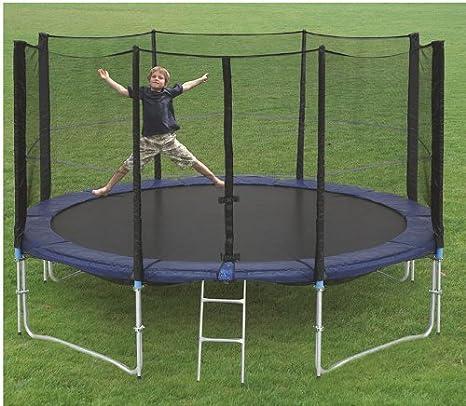 Monz International - Cama elástica (305 cm, con escalera, red de seguridad, cubierta lateral y ganchos de sujeción al suelo): Amazon.es: Deportes y aire libre