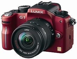 Panasonic Lumix DMC-G1 12.1MP Digital Camera with Lumix G Vario 14-45 mm f/3.5-5.6 ASPH Mega OIS Lens (Red)