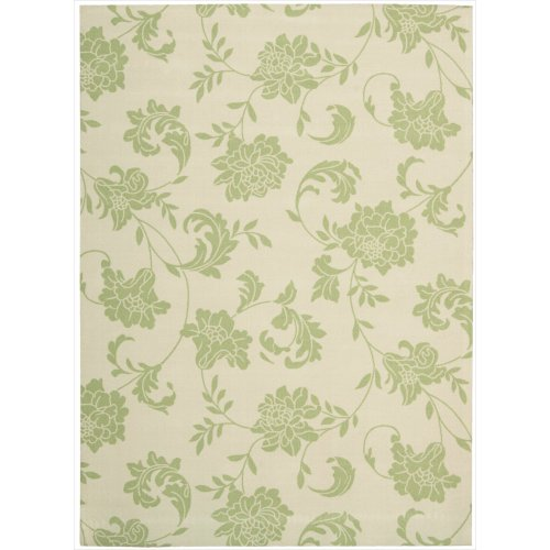 """Nourison Home & Garden (RS014) Green Rectangle Area Rug, 5-Feet 3-Inches by 7-Feet 5-Inches (5'3"""" x 7'5"""") from Nourison"""