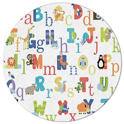 Round Area Rugs Cute Cartoon Animal ABC Chart Bedroom Children Nursery Playroom Carpet Door Mat Floor Rug Living Room Home Decor