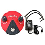 Dunlop FFM2 Red GERMANIUM FUZZ FACE MINI Pedal w/ 9V Power Supply and Patch Cables