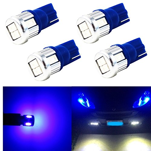 Alla Lighting 4x Super Bright Samsung 5630 SMD T10 Wedge 194 168 2825 W5W 175 Blue LED Bulbs for Replacing License Plate Interio Map Dome Side Marker Courtesy Cargo Light (Fe Door Blue Santa)