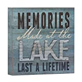 "lake home decor  Memories at The Lake Last a Lifetime Box Wall Art Sign, Primitive Country Lake Home Decor Sign with Sayings 8"" x 8"""