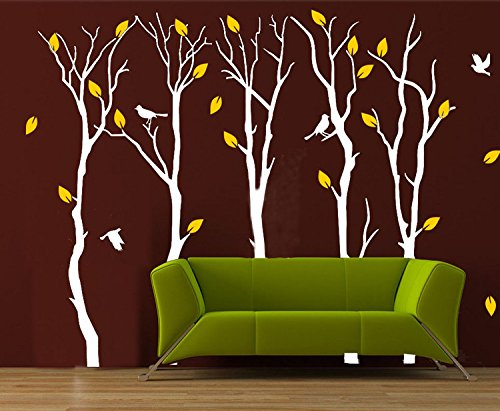 CaseFan Large 5 Poplar Trees Wall Stickers Art Mural Wallpaper for Kid Baby Nursery Livingroom Background Vinyl Removable DIY Decals 133.9×102.4″,White