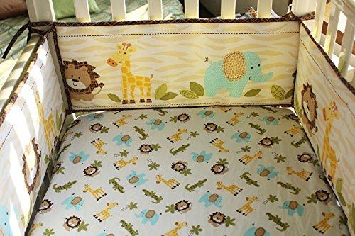 Cute Lion Safari Baby Boy 7 Pieces Nursery Crib Bedding