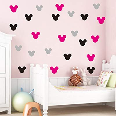 Mickey Mouse Wall Decal Mickey Mouse Wall Sticker Decal 20 Pcs/Set Mickey Minnie Mouse Vinyl Wall Stickers for Kids Rooms Decoration Nursery Wall Stickers: Home & Kitchen