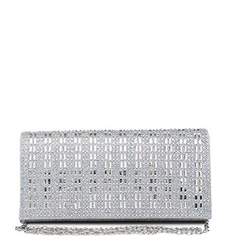 ME68026 Clutch Silver Bag Ladies Women's Envelope Evening Glitter Party Handbag Diamante 4q16w