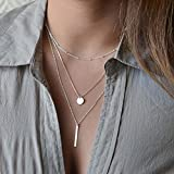 Pooqdo(TM) New Women Bang Bang Multilayer Pendant Chain Statement Necklace (Silver)