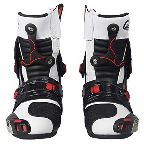 Stivali Microfibra White da Crociera Stivale Protezione Scarpe Antiproiettile Pelle Stivale Strada in Motocross da Anti Slittamento da Stivale rqUxarfw