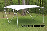 GREY/GRAY SQUARE TUBE FRAME VORTEX 4 BOW PONTOON/DECK BOAT BIMINI TOP 10' LONG, 91-96