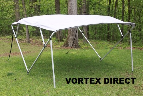 GREY/GRAY SQUARE TUBE FRAME VORTEX 4 BOW PONTOON/DECK BOAT BIMINI TOP 8' LONG, 91-96