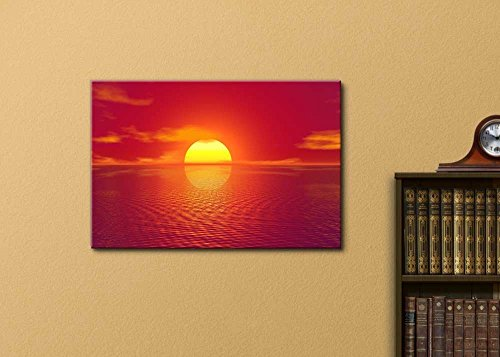 Print Home Décor Majestic View of Red Sunrise on The Sea 12 L X 18 W