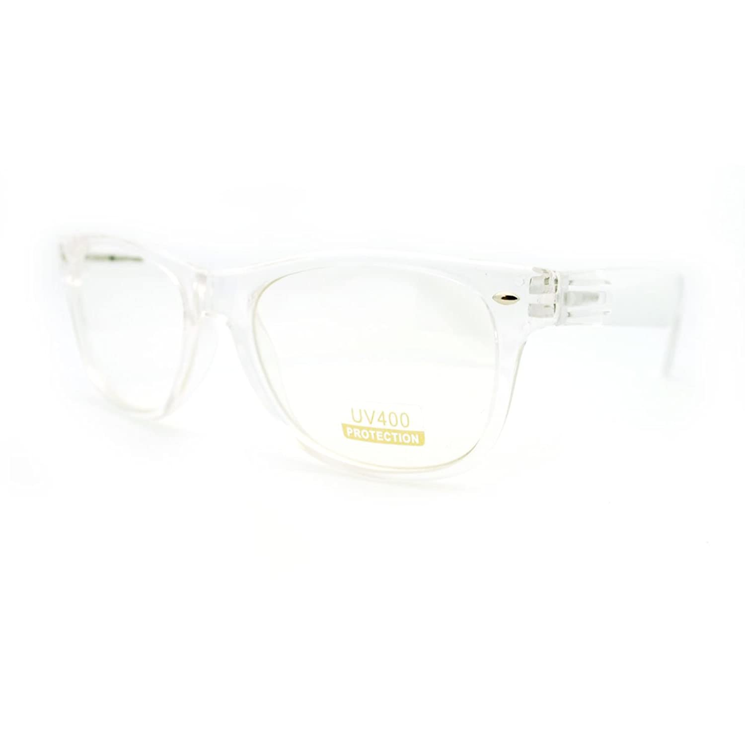 Amazon.com: Transparent Clear Plastic Frame 80\'s Clear Lens Fashion ...