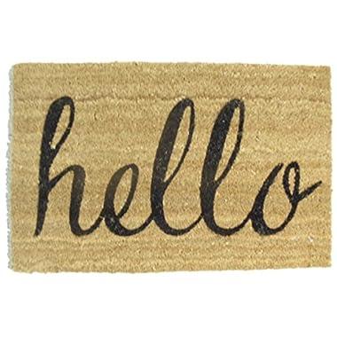 Hello  Welcome Natural Coir Doormat 18  X 28