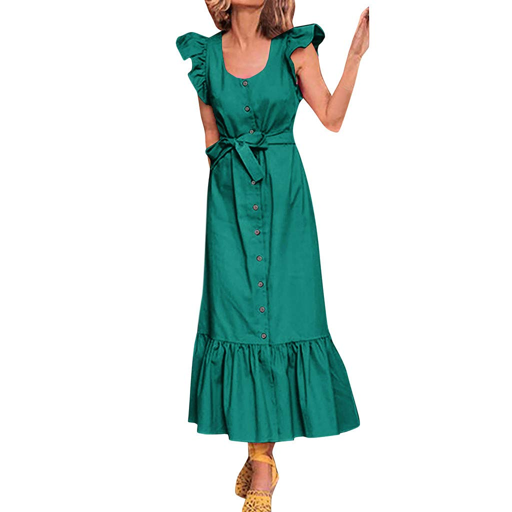 Howley Fashion Sexy Women's Round Neck Ruffle Short-Sleeve Bandage Button Maxi Dress (Green, L) by Howley