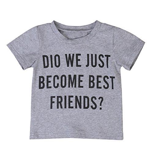 FEITONG Toddler Kids Newborn Infant Baby Boys Letter Brother Matching Clothes T Shirt Tops/Jumpsuit Romper Outfits (Gray (did we just Become Best Friends), 2-3Y)