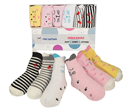 Baby Socks For Babies and Toddler Girls With Anti Slip Non Skid, 8-24 Month Girl Cotton Ankle Sock, Best Gift From Tiny Captain (Pink, White, Yellow)