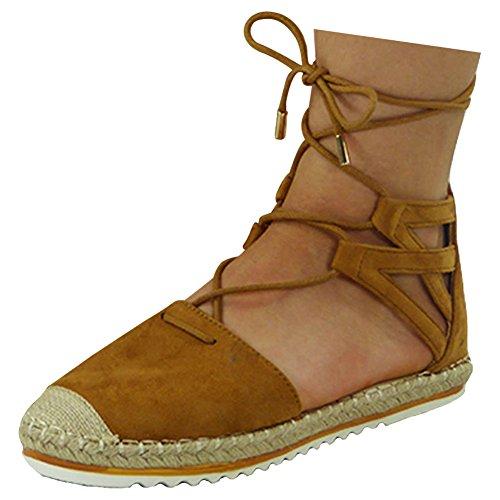 talon chaussures sandales bas taille 8 espadrilles lacets dames été cheville plat 3 Femmes Tan fTRBWqw6t