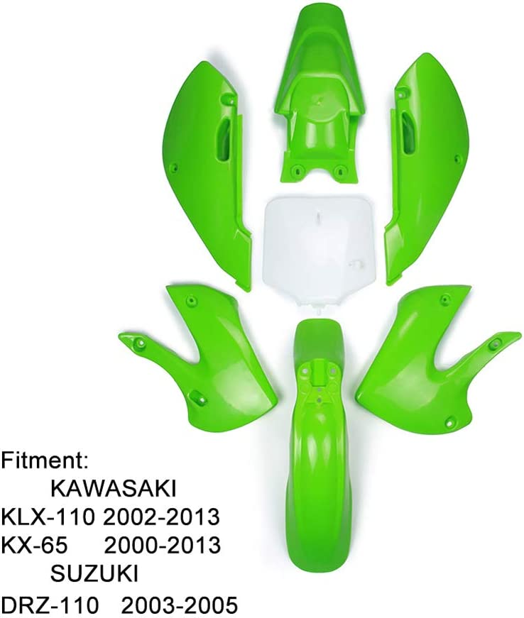 YSMOTO ABS KLX110 - Kit de carenado de plástico - Kit para guardabarros de motocicleta, para Kawasaki KLX110 2002-2013 KX65 2000-2013 Suzuki DRZ110 2003-2005 Dirt Pit Bike