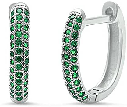Simulated Green Emerald Huggie Hoop .925 Sterling Silver Earrings